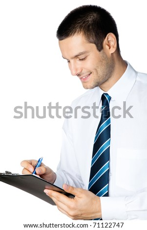Portrait of smiling businessman writing, isolated on white background