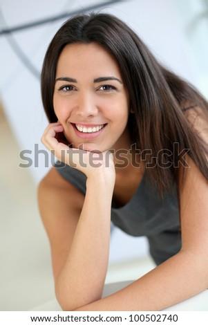 Portrait of smiling businesswoman - stock photo