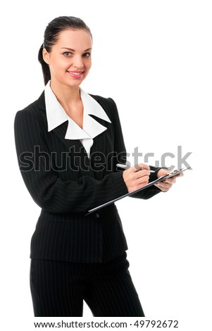 Portrait of smiling businesswoman with pen, isolated on white