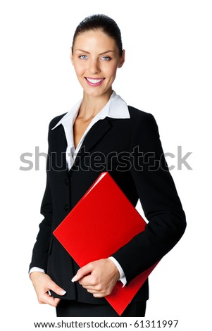 Portrait of smiling businesswoman with red folder, isolated on white