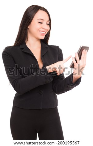 Portrait of smiling businesswoman with smartphone. Isolated on white