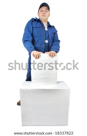 Portrait of smiling carrier with the boxes. Isolated on white.