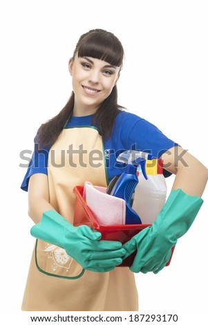 Portrait of Smiling Caucasian Cleaner Woman With Lots of Cleaning Accessories. Vertical Image. Isolated on White - stock photo