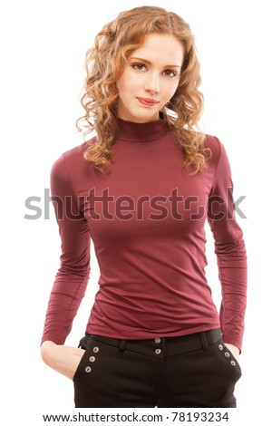 Portrait of smiling charming girl with curly hair, isolated on white background.