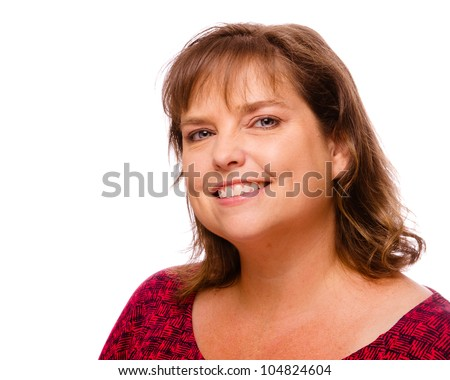 Portrait of smiling cheerful middle-aged woman isolated on white - stock photo