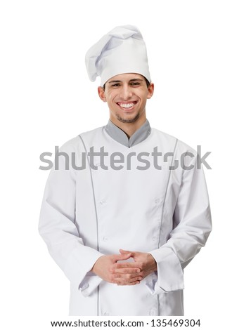 Portrait of smiling chef cook, isolated on white - stock photo