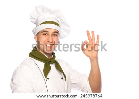 Portrait of smiling cook chef isolated on white background