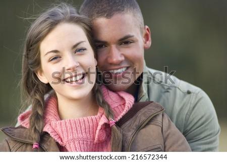 Portrait of smiling couple - stock photo