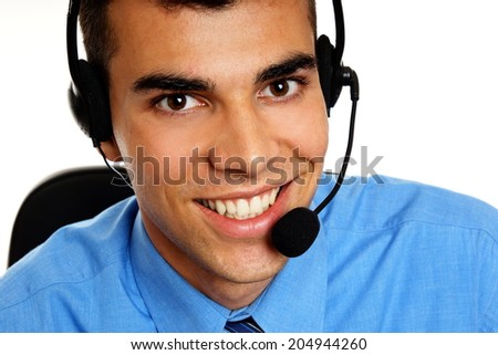 Portrait of smiling customer service operator close up