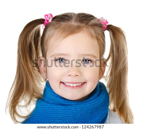 Portrait of smiling cute little girl in blue scarf isolated on white