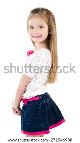 Portrait of smiling cute little girl isolated on a white - stock photo