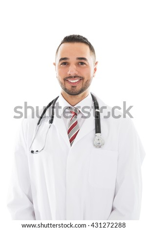 Portrait Of Smiling Doctor Against White Background