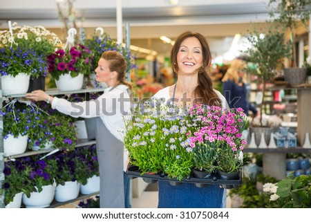 Portrait of smiling florist carrying crate full of flower plants with colleague working in background - stock photo