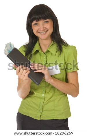 Portrait of smiling girl with the folder and money. Isolated on white.