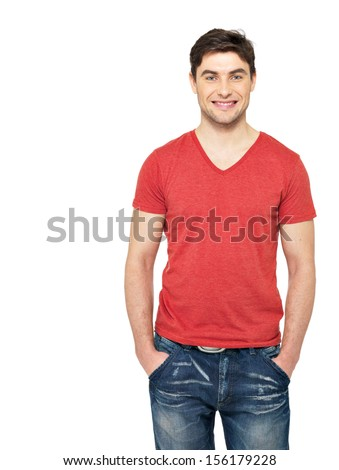 Portrait of smiling happy handsome man in casuals red t-shirt - isolated on white background  - stock photo