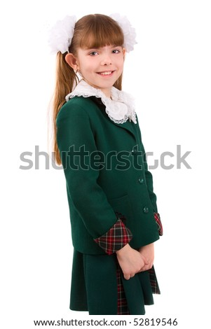 Portrait of smiling, little girl in school uniform. Isolated on white. Going to school is your future - stock photo