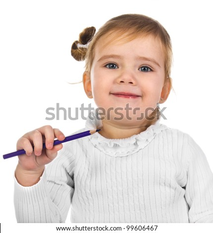 Portrait of smiling little girl with a pencil isolated