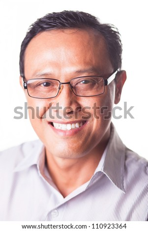 Portrait of smiling man looking at camera isolated on white background - stock photo