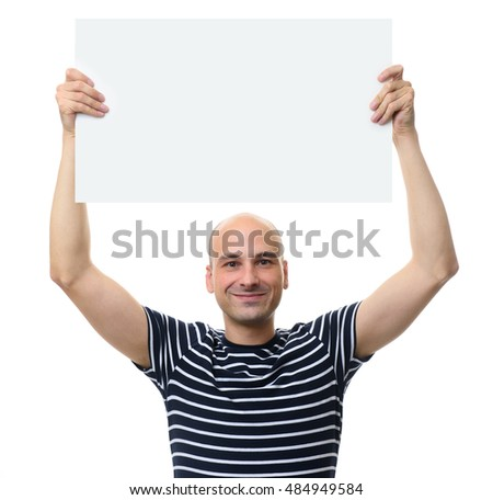 Portrait Of Smiling Man Showing Blank Placard Isolated On White Background