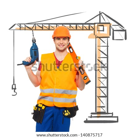 Portrait of smiling manual worker with tools and draw of  crane