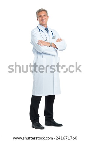 Portrait Of Smiling Mature Doctor With Arm Crossed - stock photo
