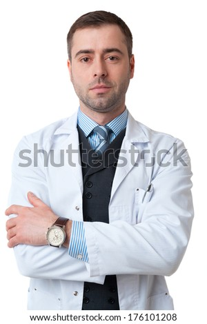 Portrait of smiling mature male doctor isolated on white background. Classic style in waistcoat with blue shirt and tie - stock photo