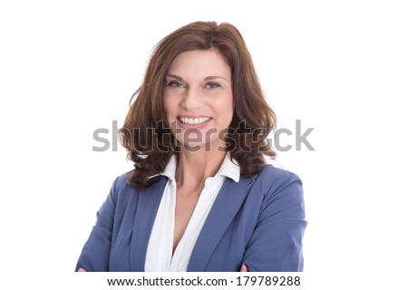 Portrait of smiling mature woman isolated on white background. - stock photo