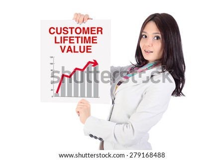 "Portrait of smiling office young woman, with long dark hairs, looking ahead, with white poster in hands, poster is a graph and arrow up, words ""Customer lifetime value"", on white background"