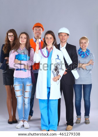 Portrait of smiling people with various occupations