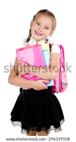 Portrait of smiling schoolgirl with backpack and books isolated on a white background - stock photo