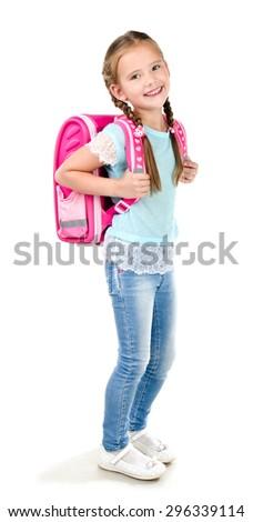Portrait of smiling schoolgirl with backpack isolated on a white background - stock photo