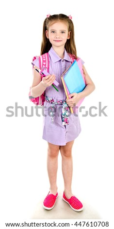 Portrait of smiling schoolgirl with books and backpack isolated on a white background - stock photo