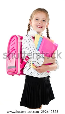 Portrait of smiling schoolgirl with school bag and books isolated on a white background - stock photo