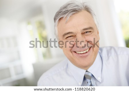 Portrait of smiling senior businessman - stock photo