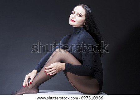 portrait smiling sexy alluring caucasian mature stock photo (royalty