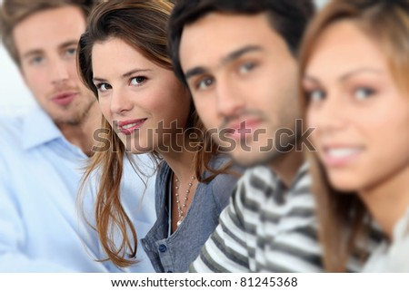 Portrait of smiling students - stock photo