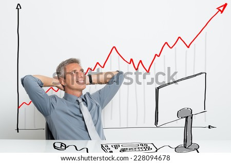 Portrait Of Smiling Successful Businessman With Successful Investment - stock photo
