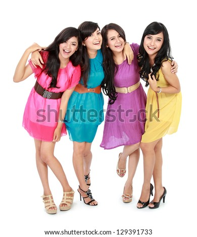 portrait of smiling teenage girls having fun together