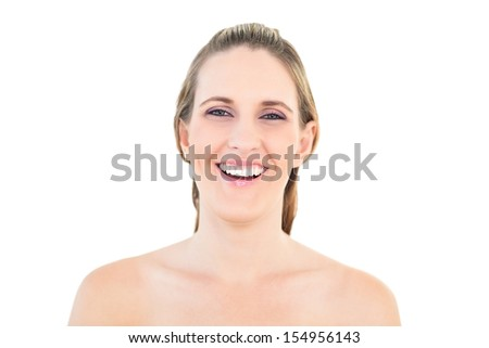 Portrait of smiling woman against white background