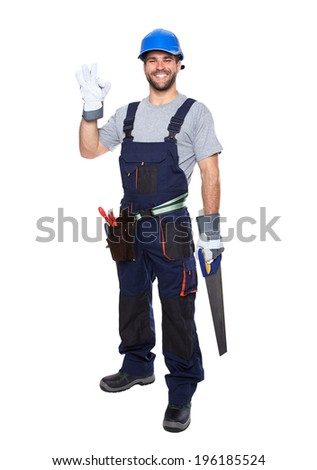 Portrait of smiling worker in blue uniform with hand doing ok gesture isolated on white background - stock photo
