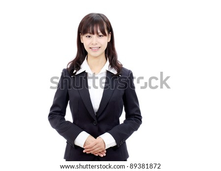 Portrait of smiling young asian business woman - stock photo