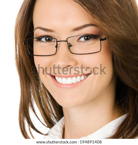 Portrait of smiling young businesswoman, isolated over white background - stock photo