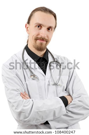 portrait of smiling young doctor, on white