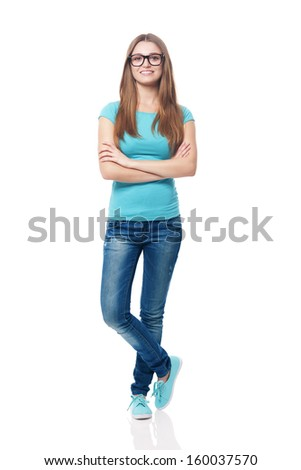 Portrait of smiling young female student  - stock photo