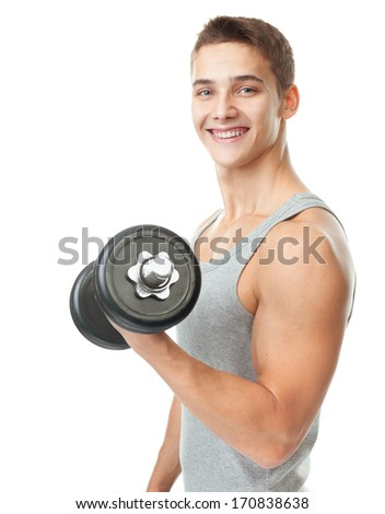 Portrait of smiling young fit muscular man exercising with dumbbells for training his biceps isolated on white background - stock photo