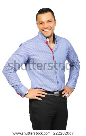 Portrait of smiling young man. Isolated on white background