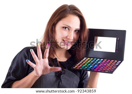 Portrait of smilling woman with eyeshadow isolated on white - stock photo