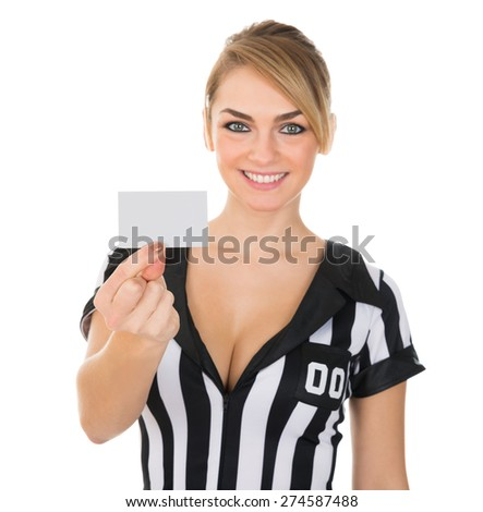 Portrait Of Soccer Female Referee Showing Blank Card Over White Background - stock photo