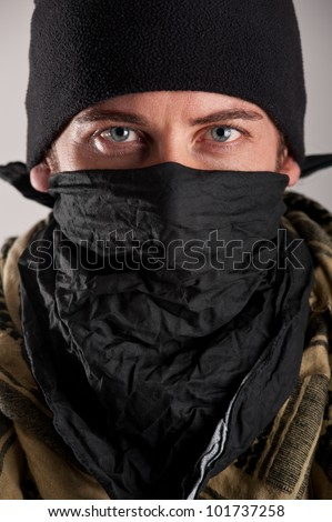 Portrait of soldier. Close up on eyes. - stock photo