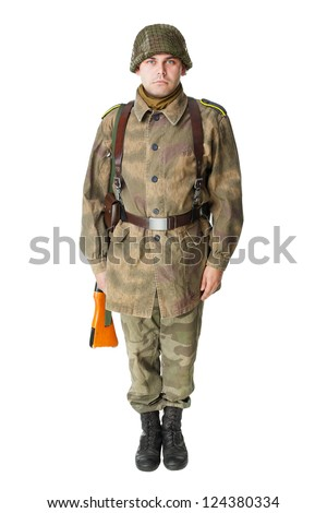 Portrait of soldier standing at attention isolated on white background
